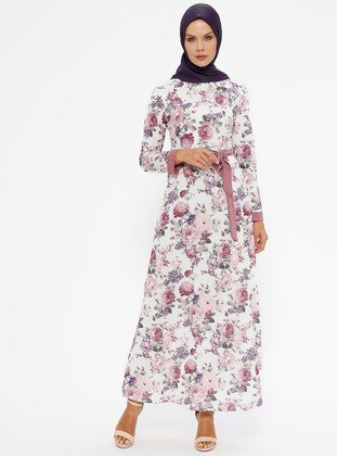 Dusty Rose - Floral - Crew neck - Unlined - Dresses
