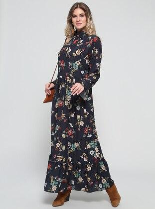 Black Floral Unlined Polo Neck Plus Size Dress