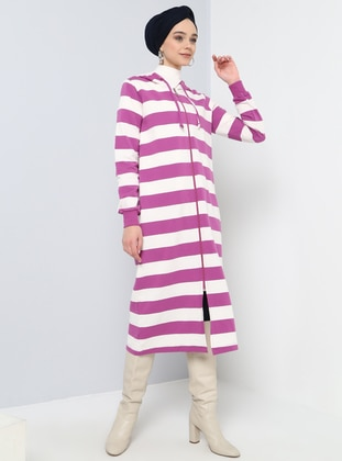 Purple - Stripe - Unlined - Cotton - Topcoat