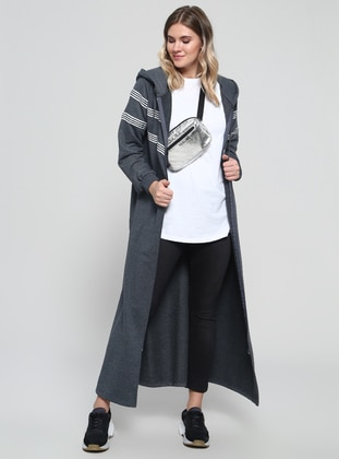 Anthracite - Stripe - Unlined - Cotton - Plus Size Coat - Alia