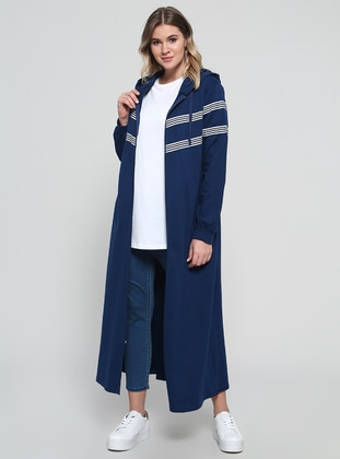 Navy Blue - Stripe - Unlined - Cotton - Plus Size Coat - Alia