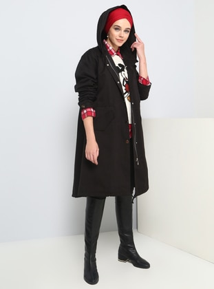 Black - Unlined - Button Collar - Cotton - Puffer Jackets - Benin