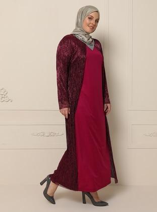 Pink - Fuchsia - Unlined - Crew neck - Plus Size Dress