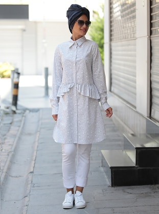 Gray - Multi - Point Collar - Cotton - Tunic