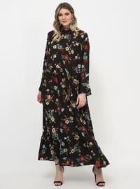 Black - Floral - Unlined - Polo neck - Plus Size Dress
