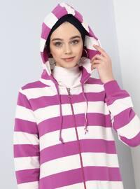 Purple - Stripe - Unlined - Cotton - Topcoat