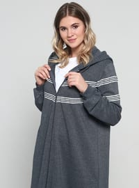 Anthracite - Stripe - Unlined - Cotton - Plus Size Coat