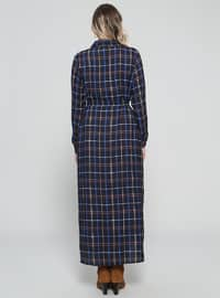 Black - Plaid - Unlined - Point Collar - Plus Size Dress