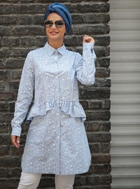 Indigo - Multi - Point Collar - Cotton - Tunic