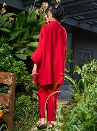 Red - Unlined - Crepe - Suit