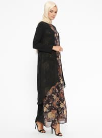 Black - Floral - Crew neck - Fully Lined - Dresses