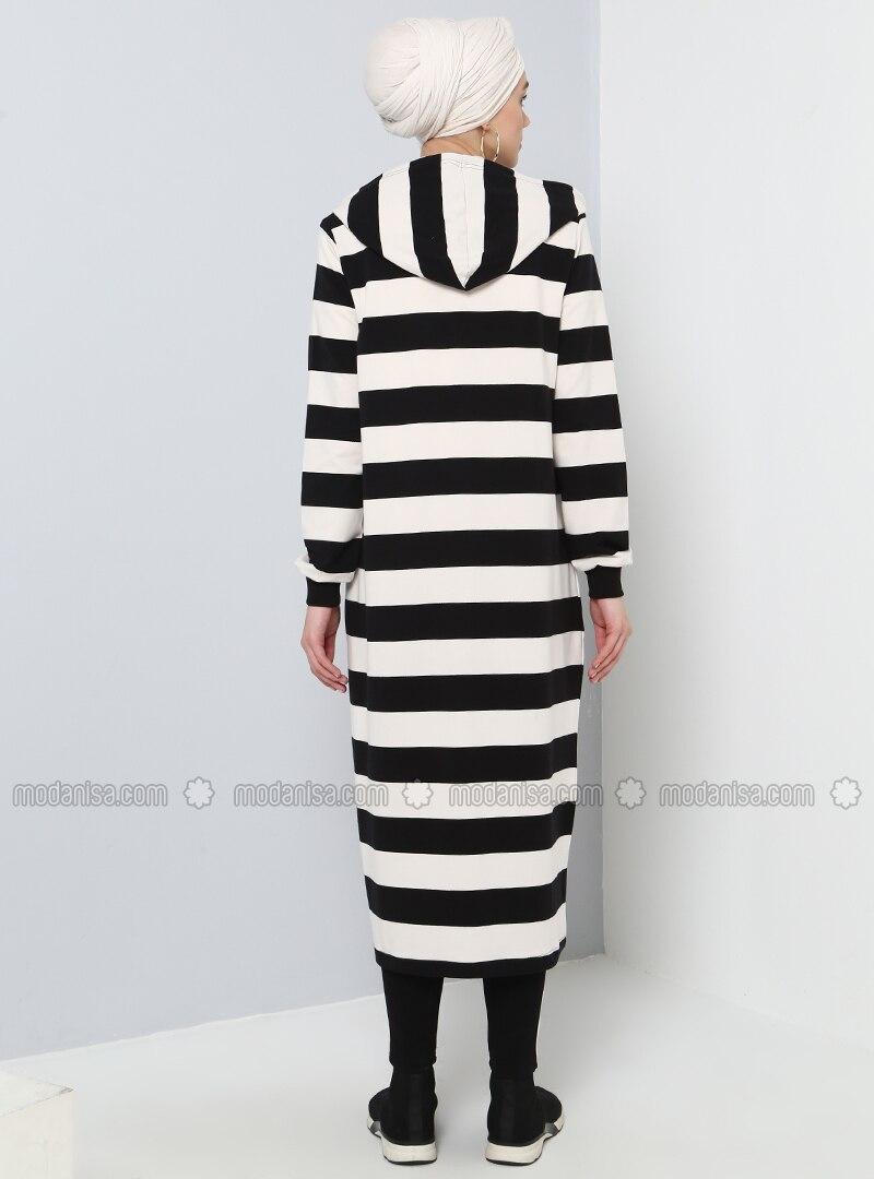hitam - putih - garis-garis - bergaris - kapas - mantel