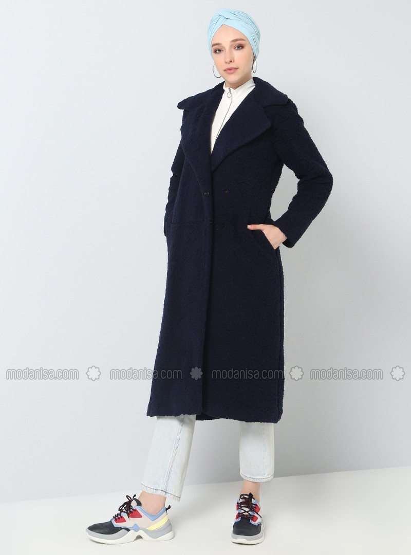 Navy Blue - Fully Lined - Shawl Collar - Coat