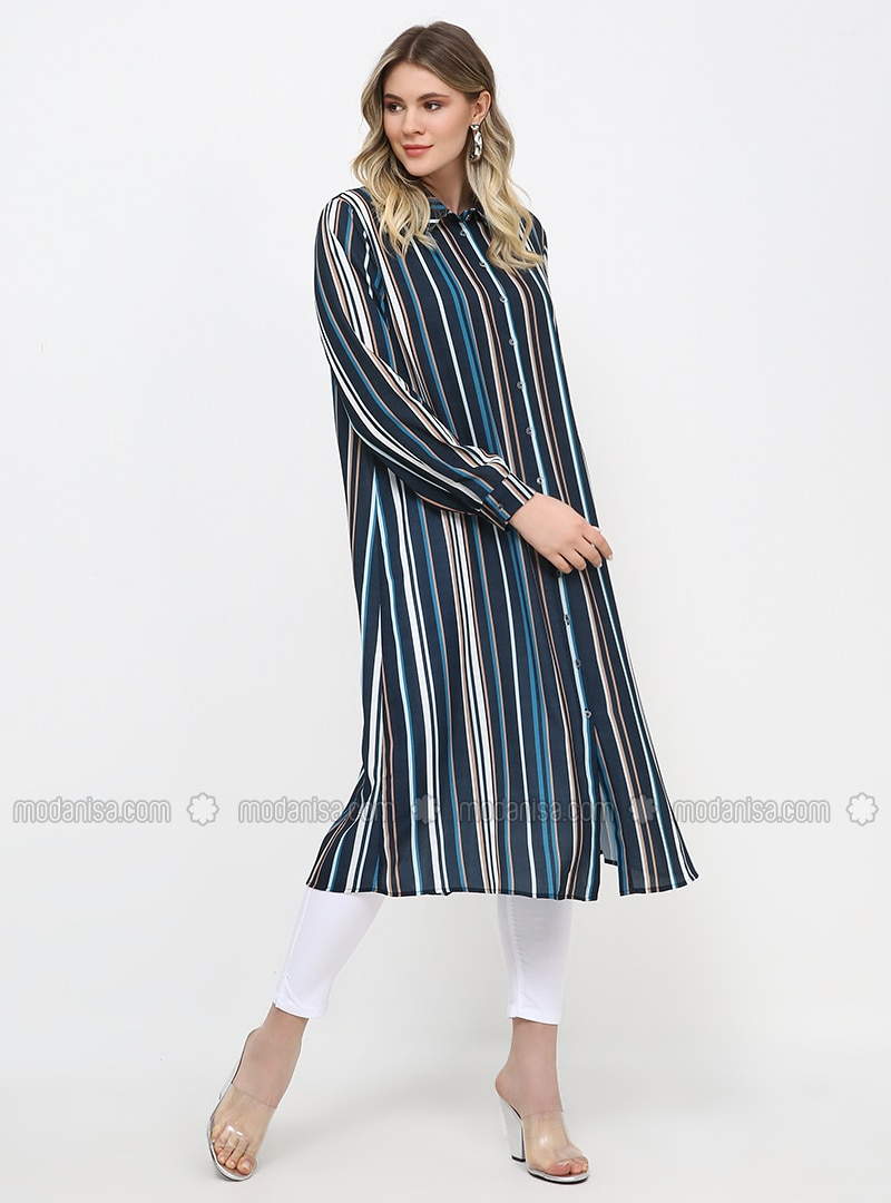 Navy Blue - Stripe - Unlined - Point Collar - Plus Size Dress