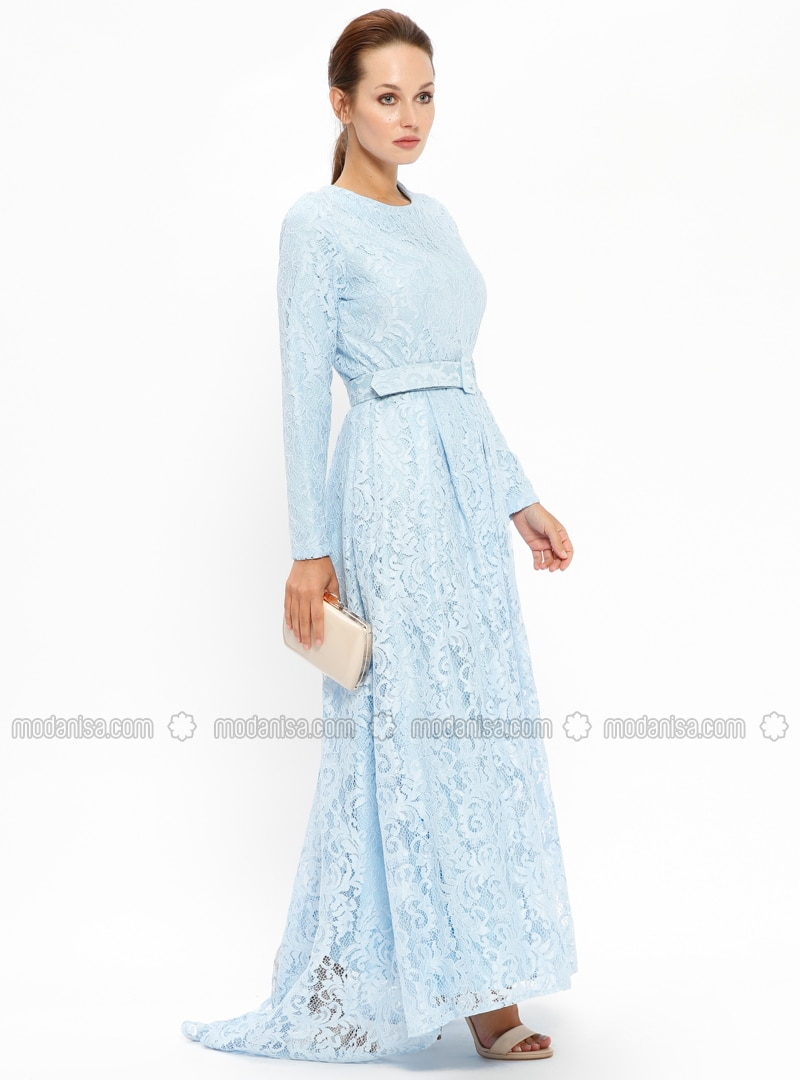 Blue Baby Blue Fully Lined Crew Neck Muslim Evening Dress