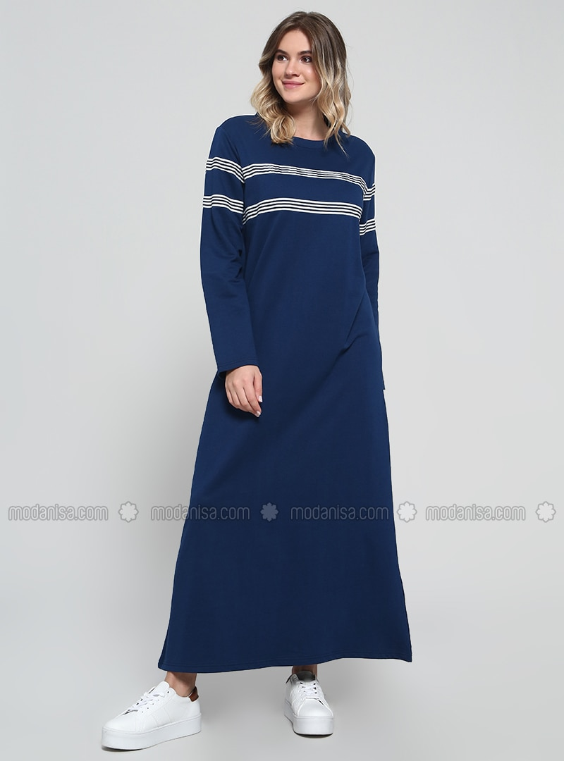Navy Blue - Stripe - Unlined - Cotton - Plus Size Dress