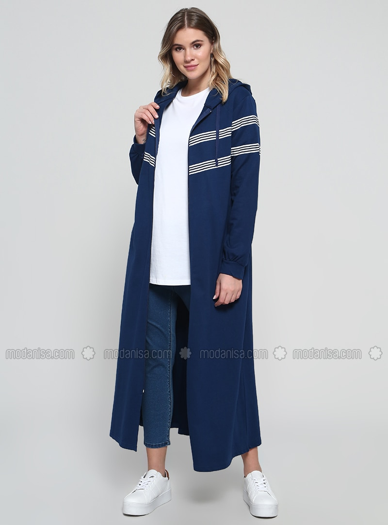 Navy Blue - Stripe - Unlined - Cotton - Plus Size Coat
