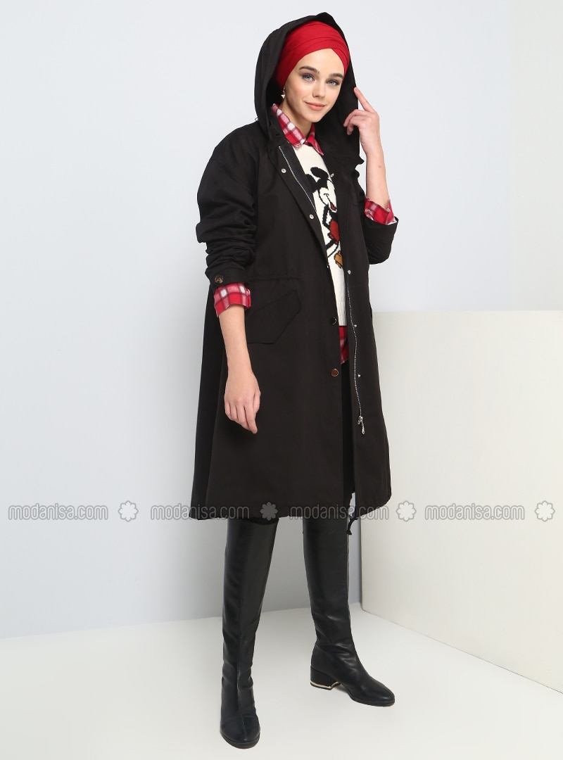 Black - Unlined - Button Collar - Cotton - Puffer Jackets