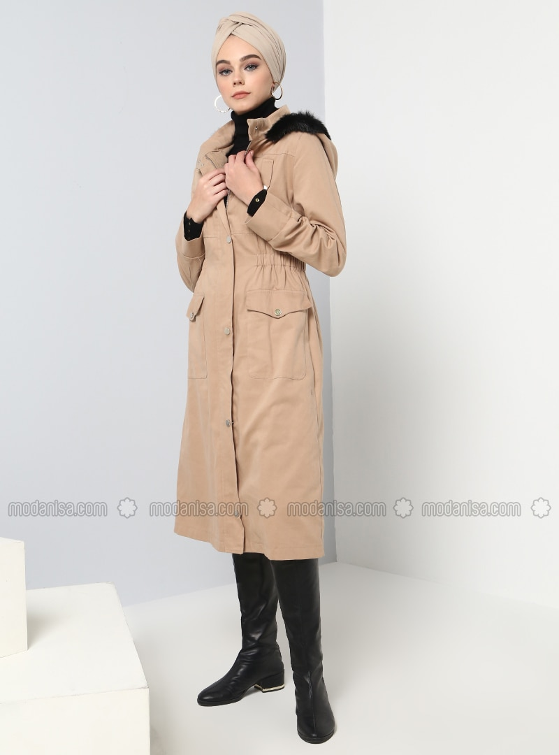 Camel - Fully Lined - Cotton - Trench Coat
