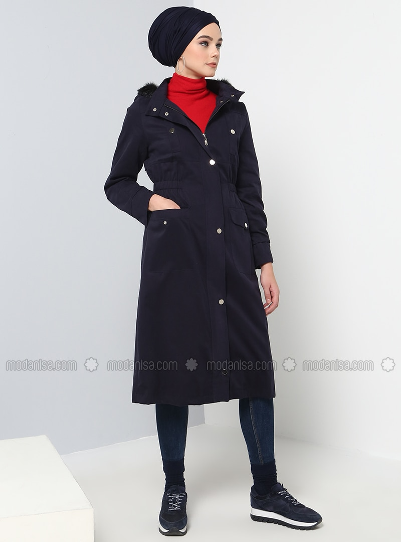 Navy Blue - Fully Lined - Trench Coat