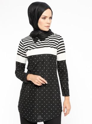 Black - White - Polka Dot - Stripe - Point Collar - Tunic
