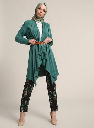 Green - Shawl Collar - Cardigan