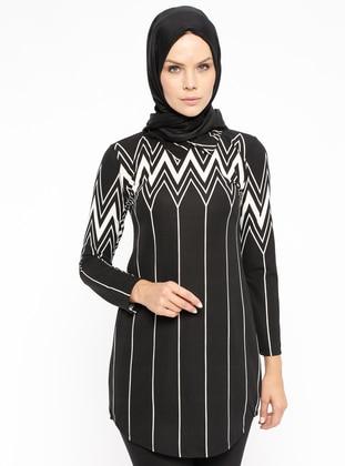 Black - White - Multi - Point Collar - Tunic