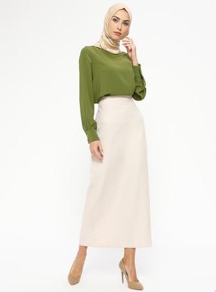 Ecru - Cream - Unlined - Skirt