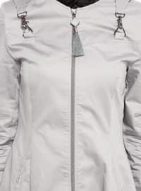 Gray - Unlined - Crew neck - Cotton - Topcoat