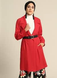 Red - Unlined - Shawl Collar - Jacket