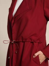 Maroon - Unlined - Shawl Collar - Trench Coat