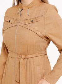 Camel - Unlined - Crew neck - Plus Size Coat