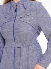Lilac - Unlined - Crew neck - Plus Size Coat