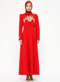 Red - Crew neck - Fully Lined - Dresses