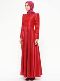 Red - Fully Lined - Crew neck - Muslim Evening Dress