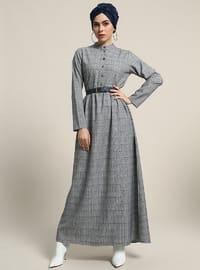 Lacivert - Gri - Kareli - Düğmeli yaka - Astarsız kumaş - Elbise