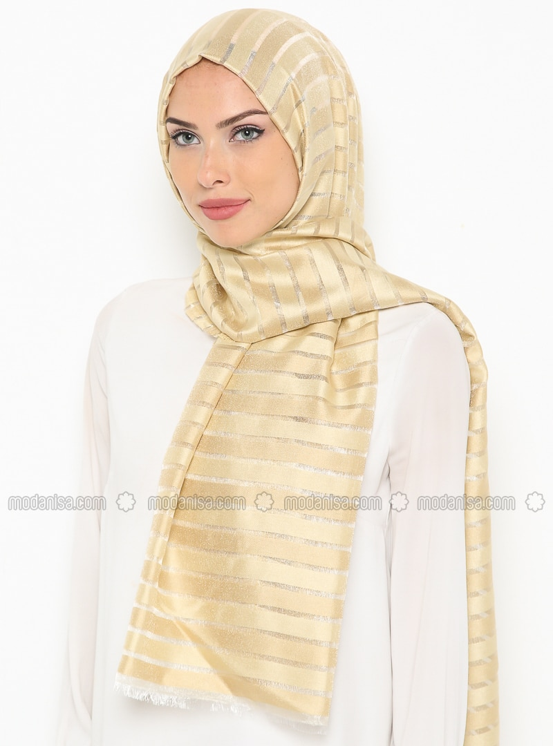 Khaki - Striped - Shawl
