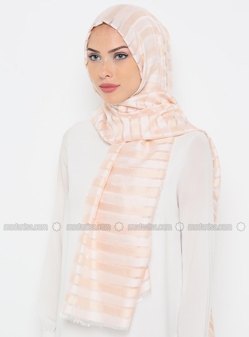 Beige - Striped - Shawl