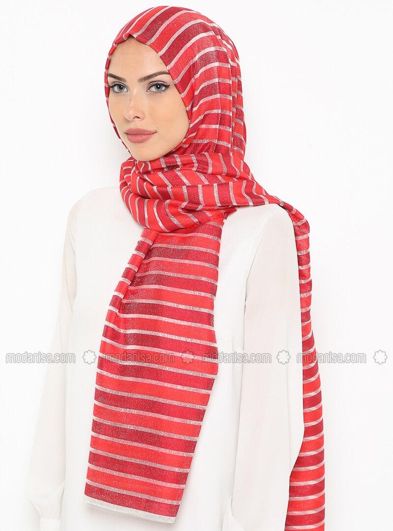 Red - Maroon - Striped - Shawl