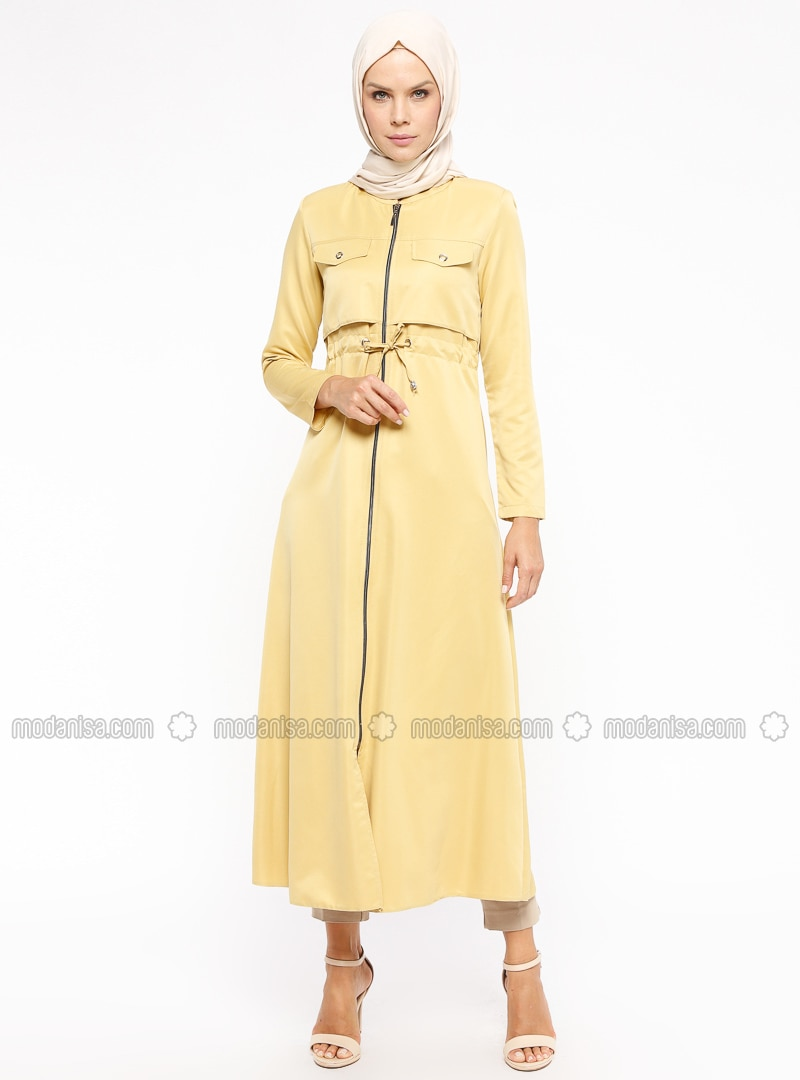 Yellow - Unlined - Crew neck - Abaya
