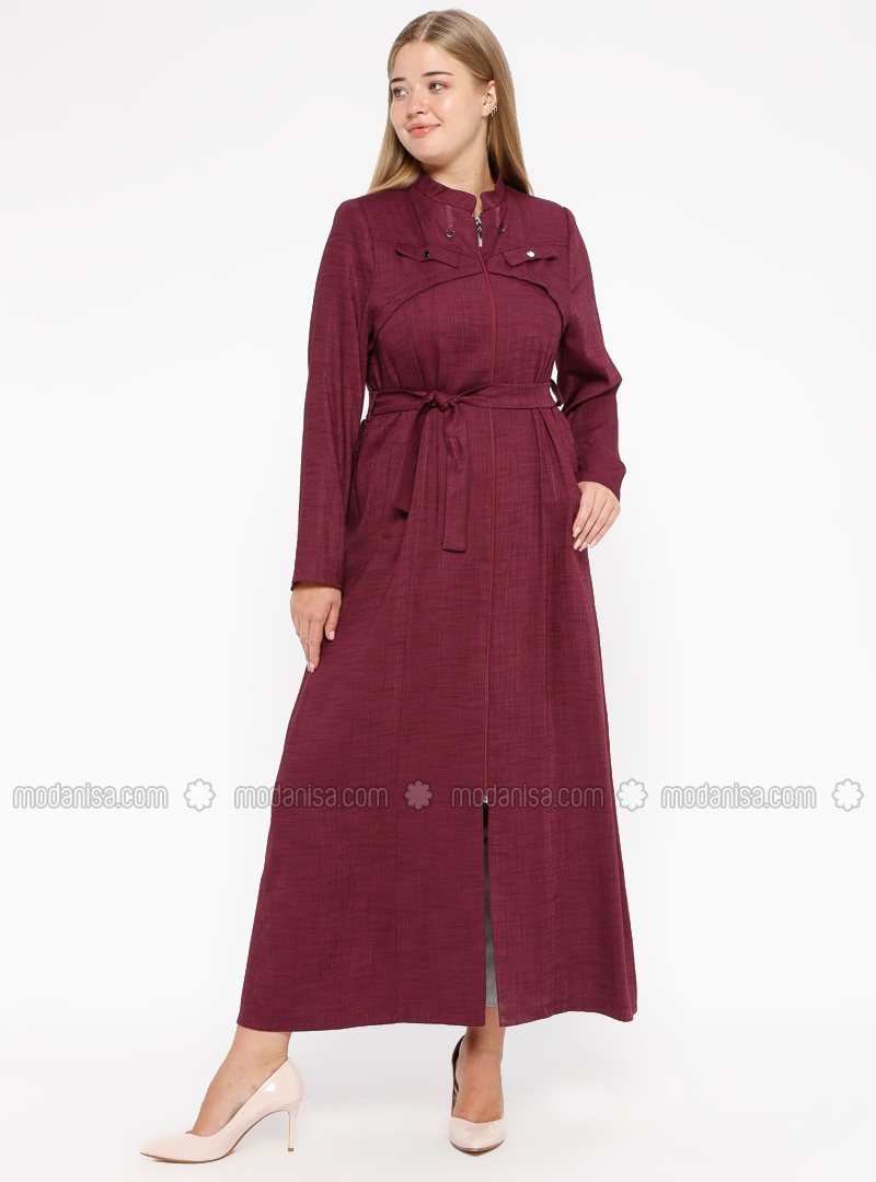 Purple - Plum - Unlined - Crew neck - Plus Size Coat