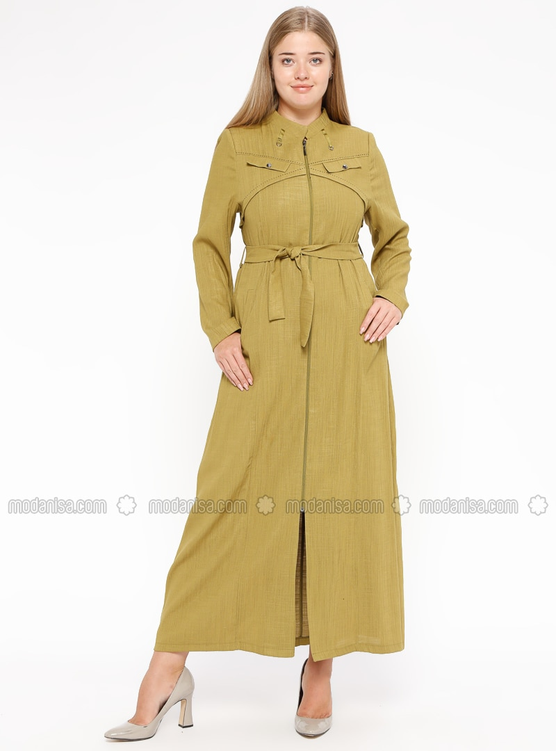Green - Olive Green - Unlined - Crew neck - Plus Size Coat