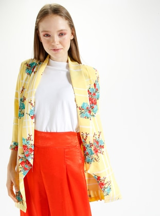 Yellow - Floral - Unlined - Shawl Collar - Jacket