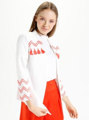Ecru - Coral - Unlined - Jacket