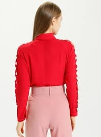 Red - Point Collar - Blouses