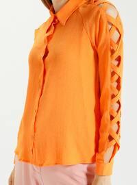 Orange - Point Collar - Blouses