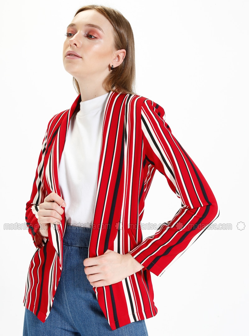 Red - Stripe - Unlined - Shawl Collar - Jacket