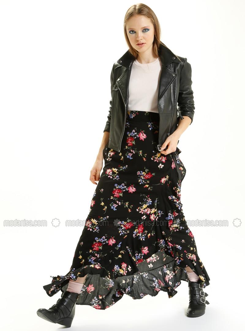 5c5d86b2cb Black - Floral - Fully Lined - Viscose - Skirt. Fotoğrafı büyütmek için  tıklayın