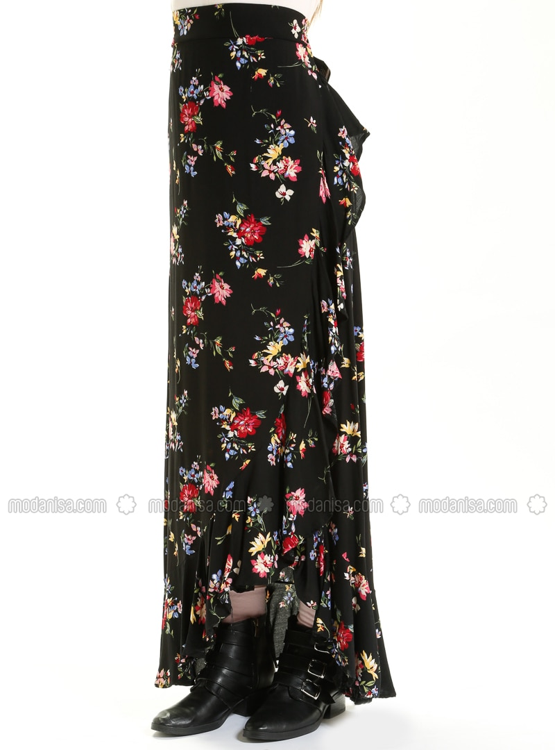 4fea1808e3 Black - Floral - Fully Lined - Viscose - Skirt