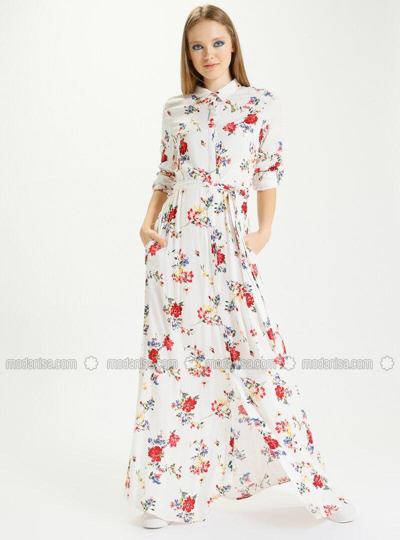 5b7cfd9329a84 Uzun Viskon Gömlek Elbise - Ekru